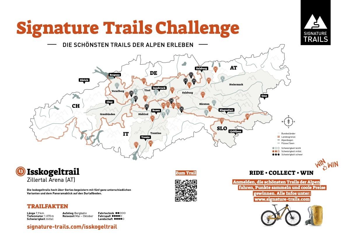 13 Signature Trails Karte Isskogeltrail Zillertal Arena